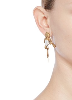 Valentino Glass pearl fringe drop earrings