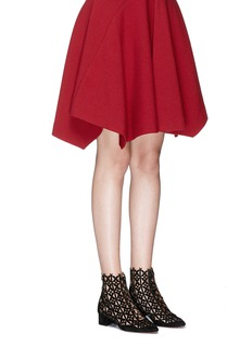 Alaïa Flora lasercut suede lace-up boots