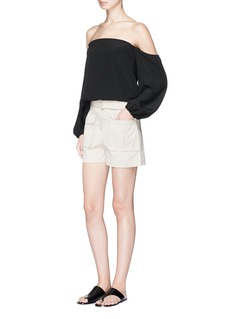 Theory 'Vasilica' belted poplin shorts