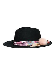 VennaGraphic print scarf wool felt fedora hat