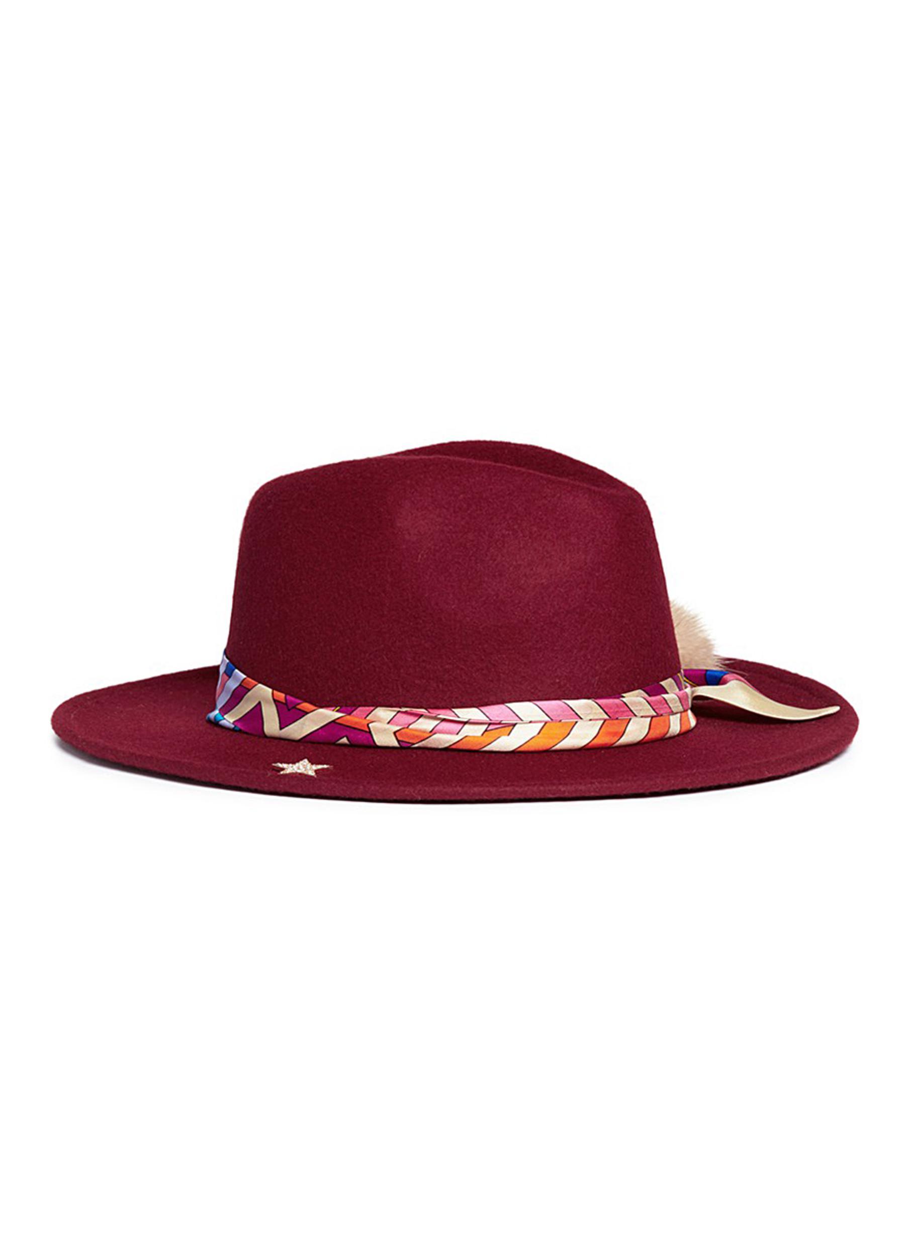VENNA Geometric printed scarf wool felt fedora hat