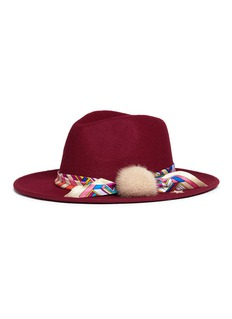 VennaGeometric printed scarf wool felt fedora hat