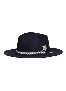 Venna Jewelled band wool felt fedora hat