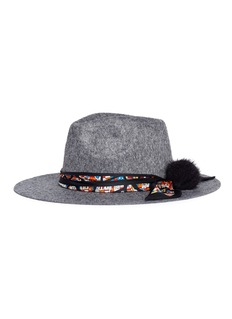 VennaHouse print scarf wool felt fedora hat