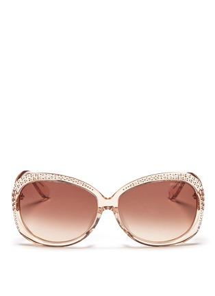 Main View - Click To Enlarge - Jimmy Choo - 'Lu' crystal rim sunglasses