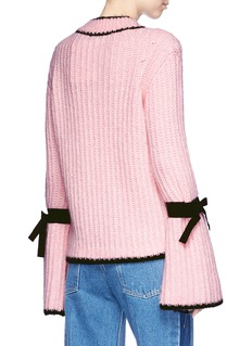 Moncler Ribbon flute sleeve chunky rib knit sweater