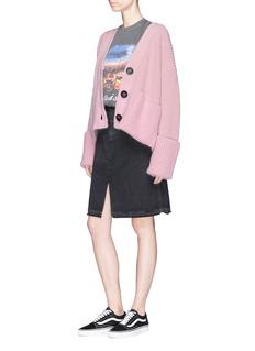 Moncler Virgin wool-cashmere chunky rib knit cardigan