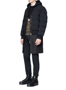 Neil Barrett 'Gang' slogan print hooded vest with puffer bomber jacket