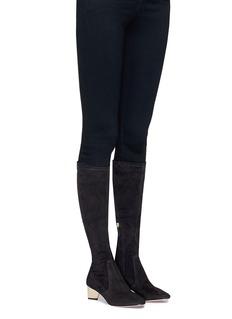 Nicholas Kirkwood 'Prism' suede knee high sock boots