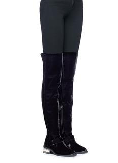 Nicholas Kirkwood 'Casati' faux pearl heel velvet thigh high boots