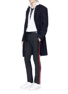 Lanvin Grosgrain chain outseam wool hopsack pants