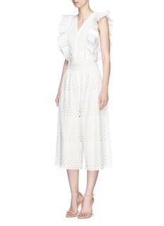 alice + olivia'Janet' crochet trim ruffle V-neck sleeveless top