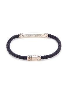 John Hardy Sapphire braided leather silver bracelet