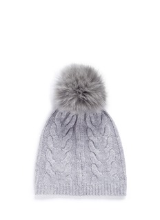 Yves Salomon Fox fur pompom wool-cashmere cable knit beanie