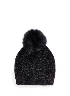 Yves Salomon Fox fur pompom wool-cashmere metallic knit beanie