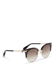 Alexander McQueenSkull temple tortoiseshell acetate browline metal sunglasses