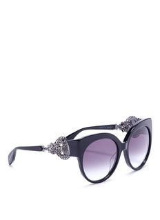 Alexander McQueen Skull cutwork temple oversized cat eye sunglasses