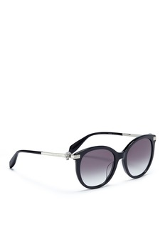 Alexander McQueen Glass crystal skull temple oversized acetate sunglasses