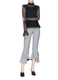 Nicholas 'Adele' cutout back ruffle stripe crochet knit top