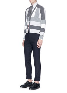 Thom BrowneGeometric intarsia cashmere rib knit cardigan