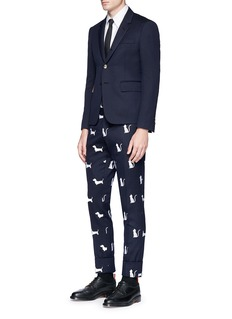 Thom Browne Hector and Thom Cat embroidered wool pants