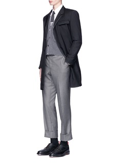 Thom Browne Grosgrain trim wool-mohair Chesterfield coat
