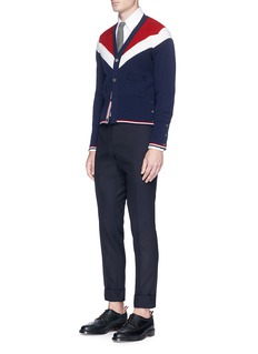 Thom Browne Chevron intarsia cashmere rib knit cardigan
