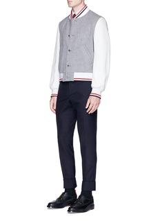 Thom BrowneLeather sleeve wool melton varsity jacket