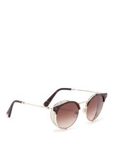Valentino Mesh spoiler tortoiseshell brow bar metal panto sunglasses