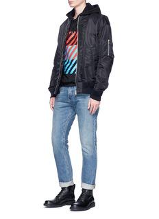Wan HungBlock stripe print hoodie