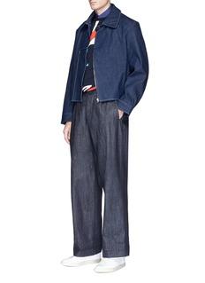 Wan Hung Tang suit cut cropped raw denim jacket