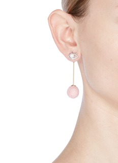 Venna Detachable pompom drop faux pearl eye earrings