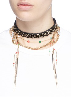 Venna Tiered chain beaded lasercut leather choker