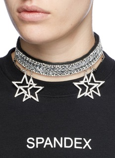 Venna Star charm glass crystal leather choker