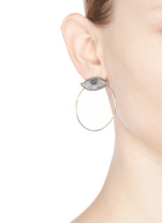 Venna 'Evil Eye' detachable hoop glass crystal earrings