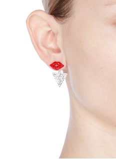 Venna Detachable triangle drop glass crystal lips earrings