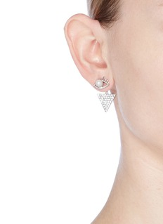 Venna Detachable triangle drop faux pearl eye earrings