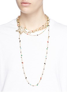 Venna Faux pearl star charm beaded chain choker necklace
