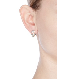 Venna Detachable pompom glass crystal skull earrings
