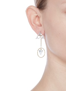 Venna Detachable cone drop glass crystal triangle earrings