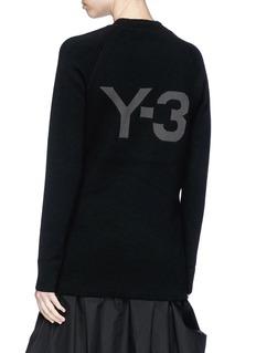 Y-3 Logo print mock neck melton sweater