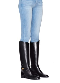 Mulberry Buckle strap knee high leather boots