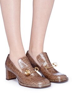 Mulberry Safety pin croc embossed leather loafer pumps