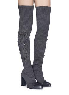 Stuart Weitzman 'Long Legs' floral stud thigh high sock boots