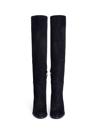Front View - Click To Enlarge - Stuart Weitzman - 'Alljack' stretch suede knee high boots