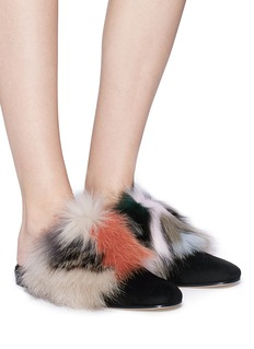 Stuart Weitzman 'Fur Get It' suede panel fox fur slides