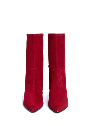 Front View - Click To Enlarge - Stuart Weitzman - 'Cling' stretch suede ankle boots