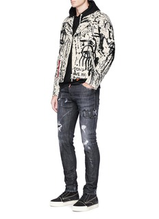 Haculla Paint splatter leather biker jacket