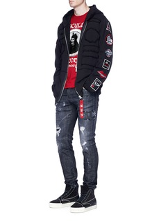 Haculla Assorted patch distressed zip hoodie