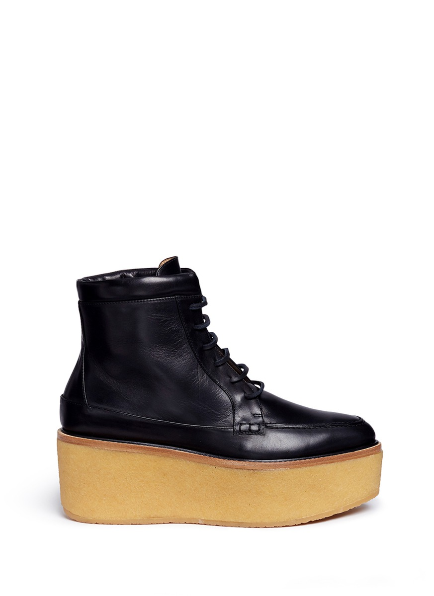'Terrell' crepe rubber platform leather combat boots